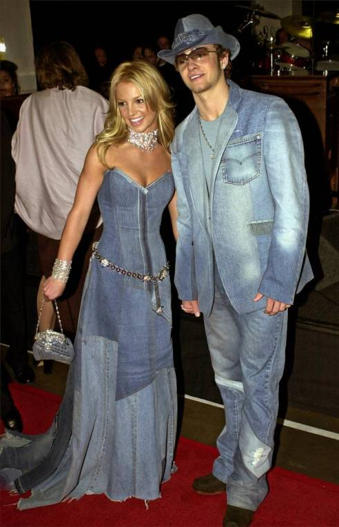 Britney Spears and Justin Timberlake demonstrate how not to do double denim at the 2001 (Picture: AP/Mark J.Terrill)