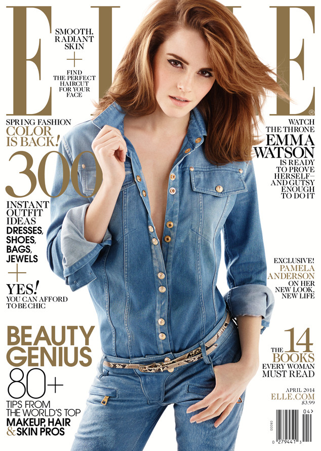 Emma watson graces the cover of elle in a canadian tuxedo for Elle subscription change address